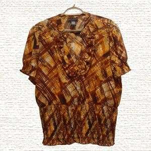 Philosophy Ladies Plus-Size Brown Tan Abstract Pattern Blouse XL